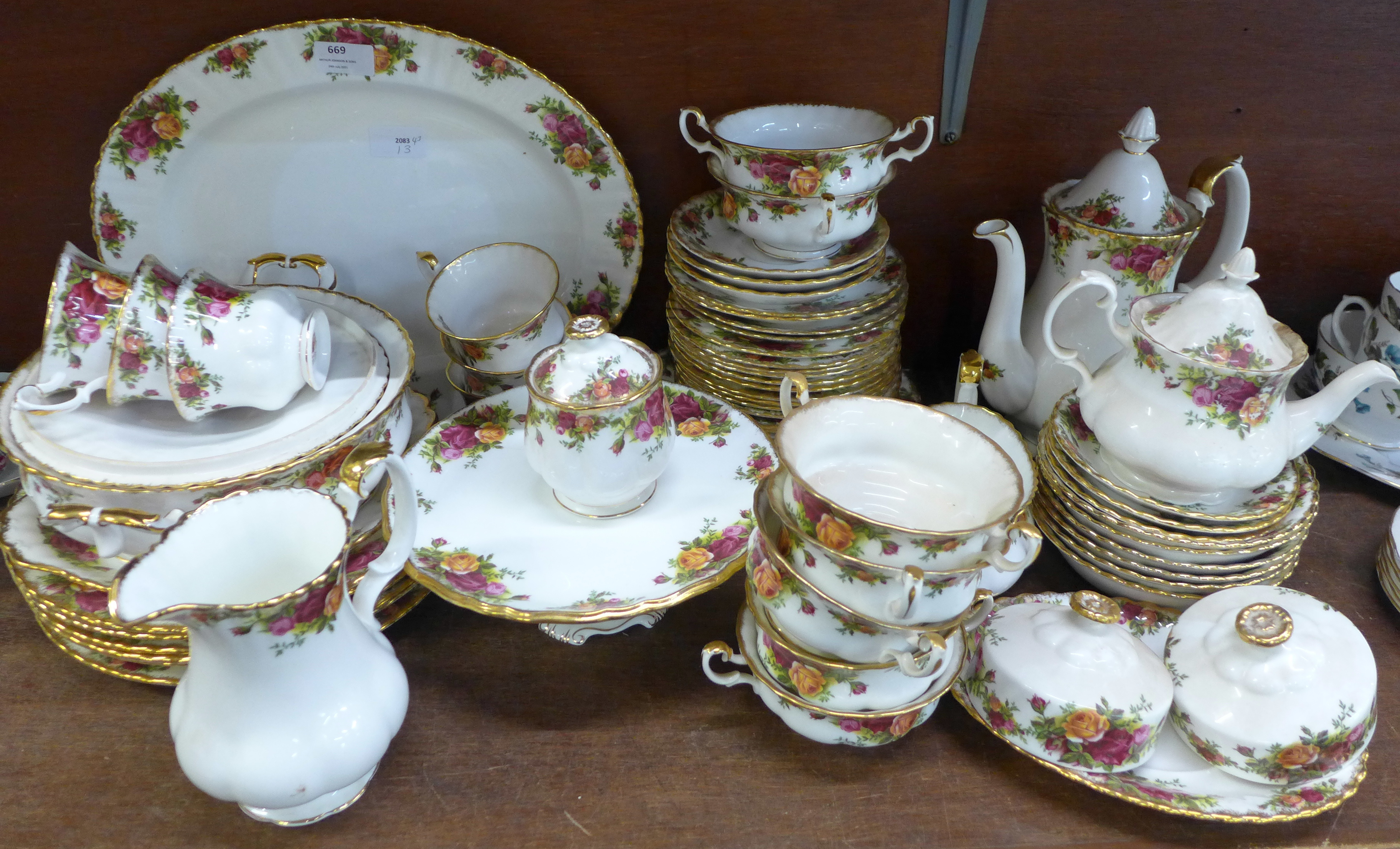 A collection Royal Albert Old Country Roses including six dinner plates, cups, coffee and teapot,
