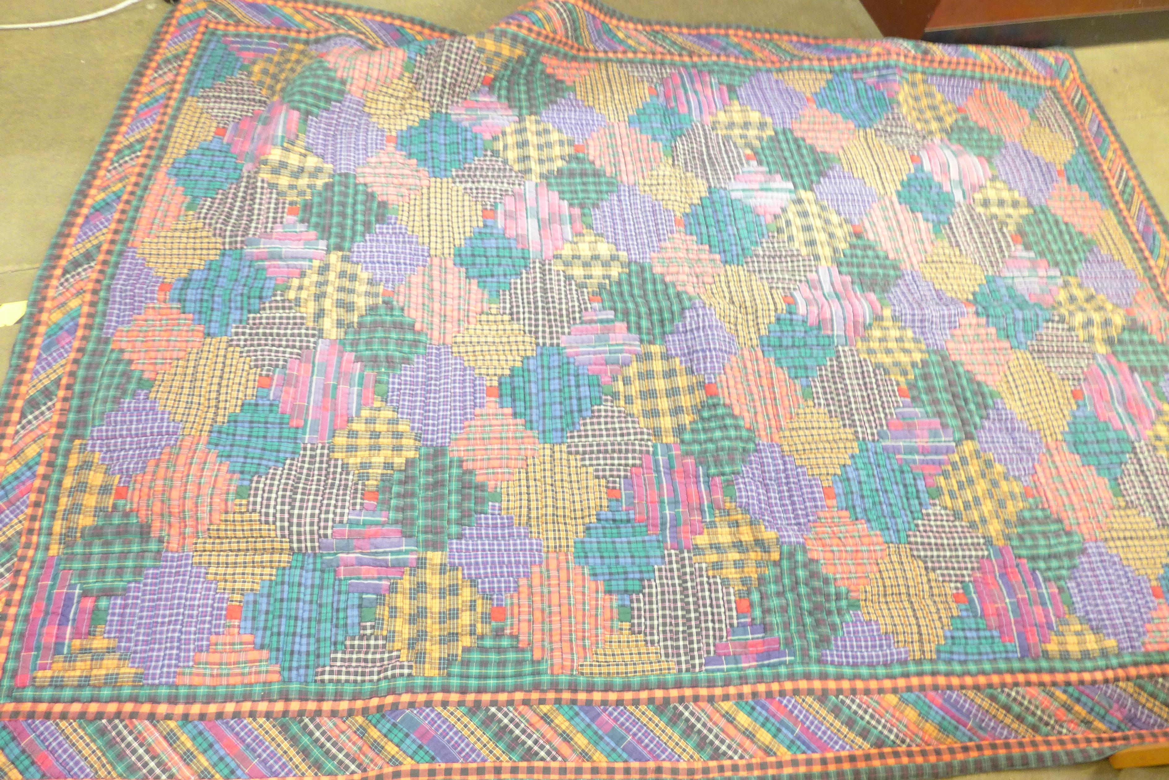 A vintage 1970's/80's quilt, Nimble Fingers 100% cotton, double to kingsize