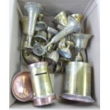 A collection of brass and two brass and copper containers **PLEASE NOTE THIS LOT IS NOT ELIGIBLE FOR