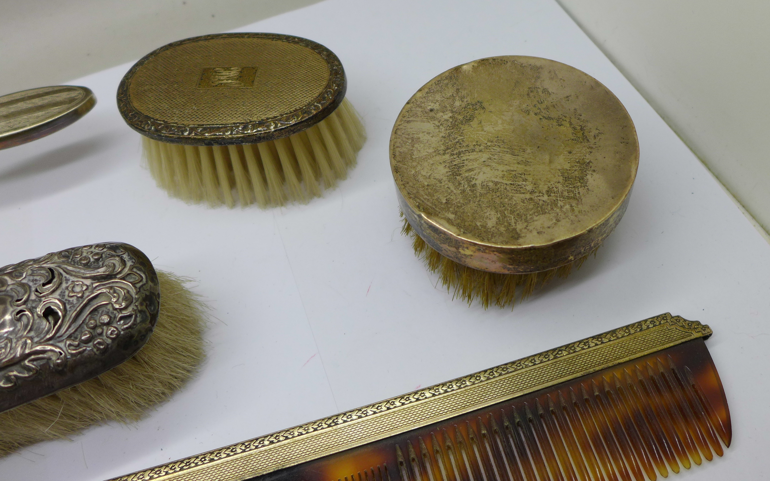 Silver brushes (two cased), comb and a hand mirror - Image 4 of 9