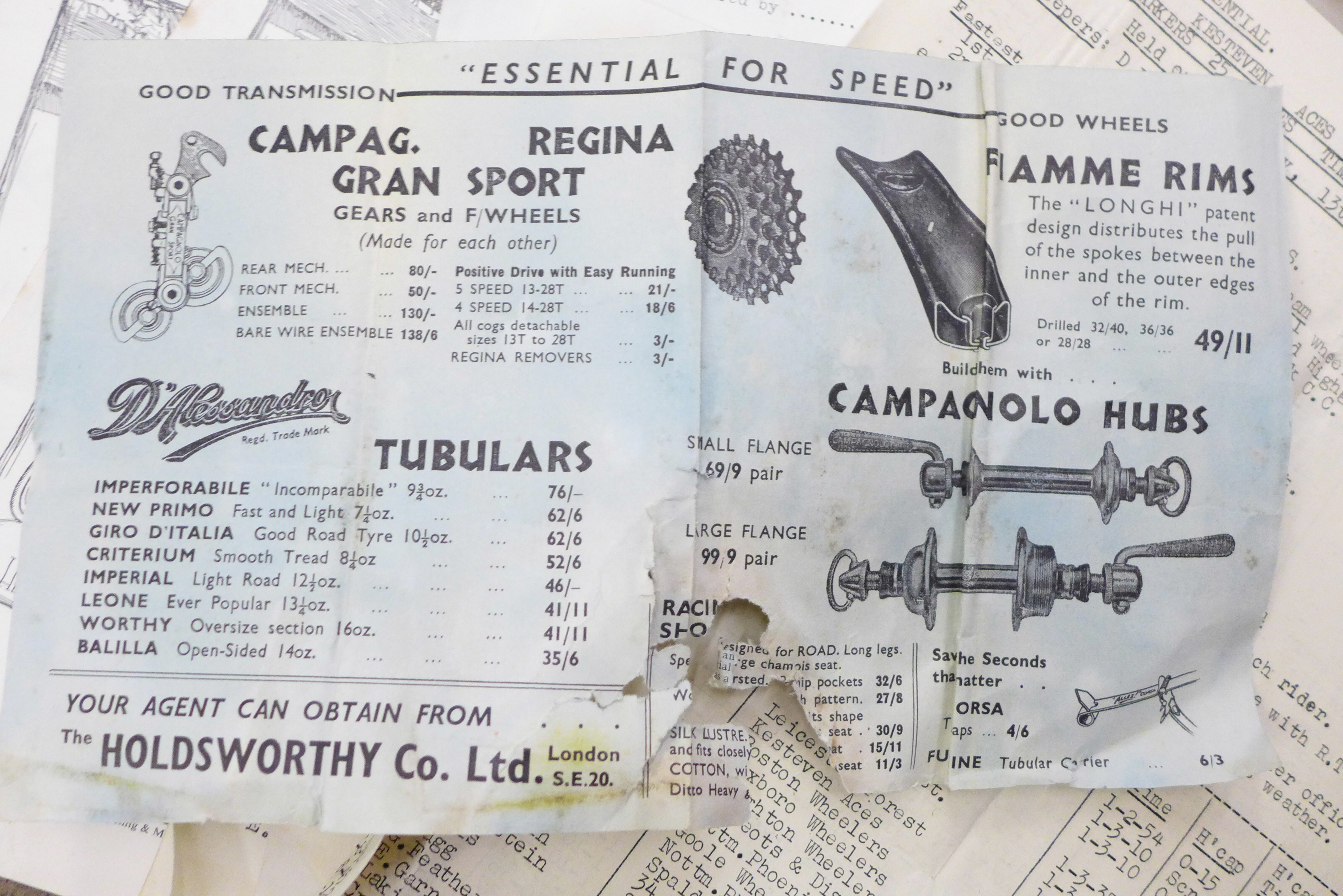 A collection of 1950's-1960's cycling ephemera from Nottinghamshire, Lincolnshire, Norfolk and - Image 3 of 7
