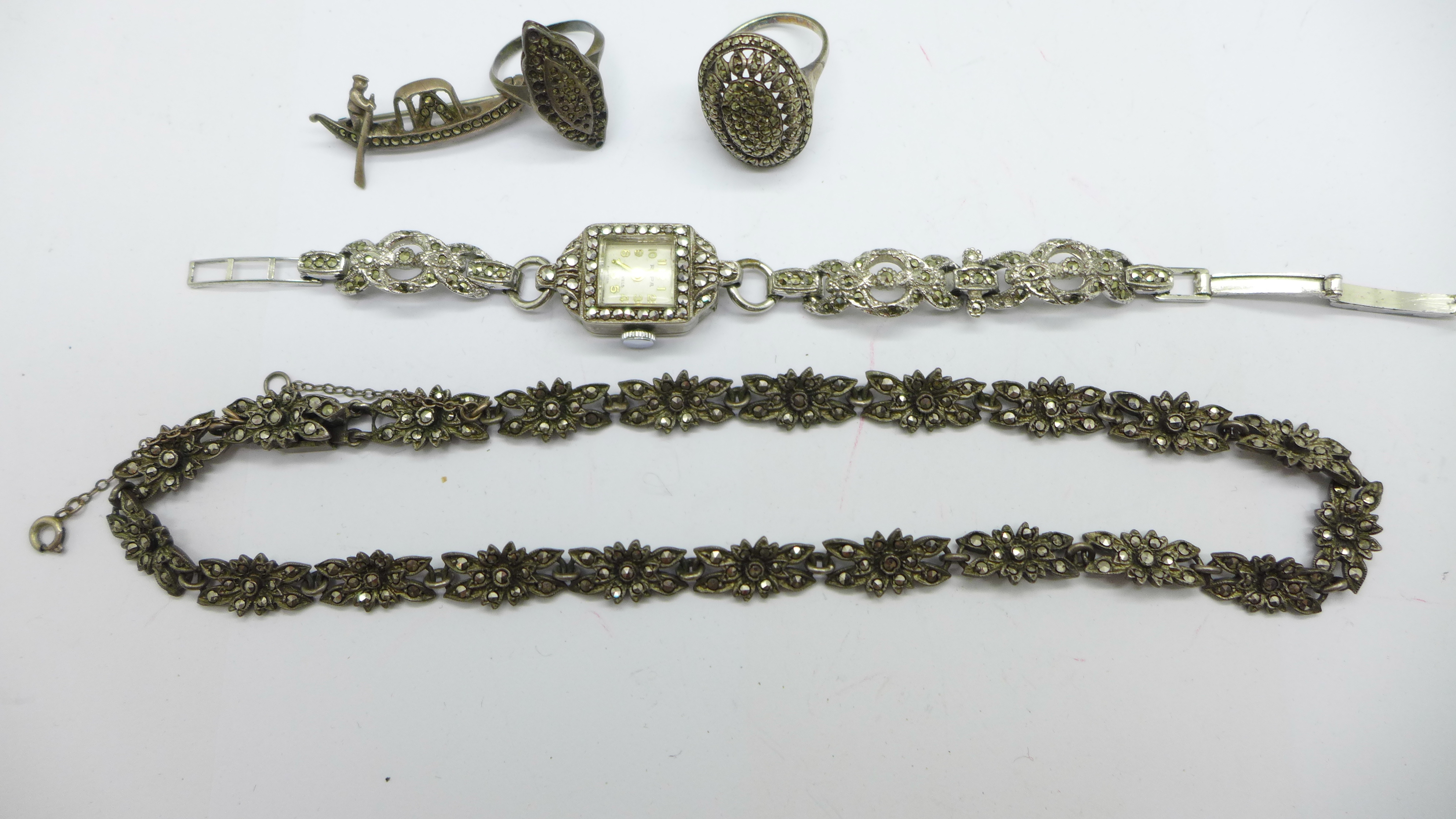 A collection of silver and marcasite jewellery including a lady's wristwatch - Image 3 of 3
