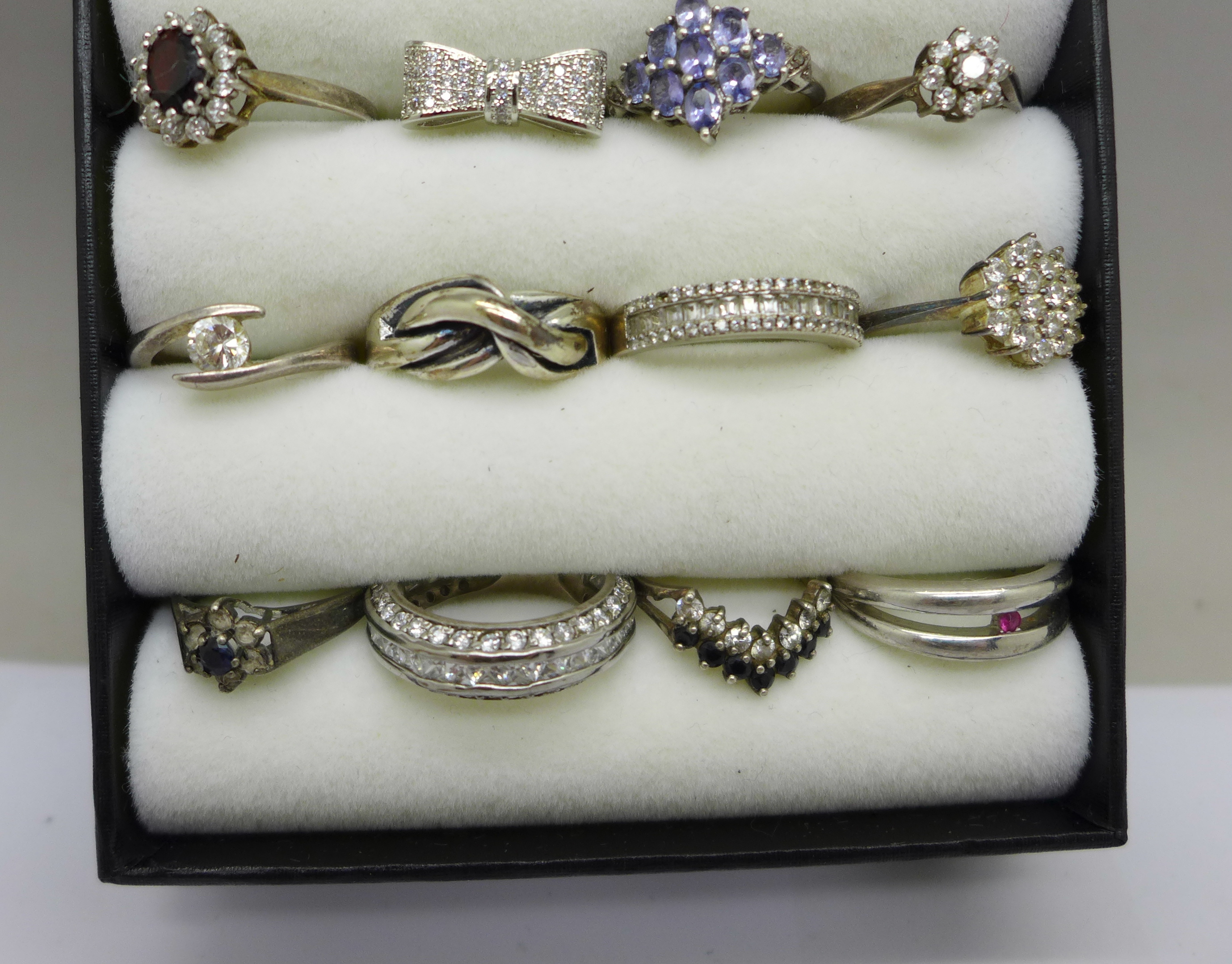 Twelve silver dress rings, most set with stones - Image 3 of 3