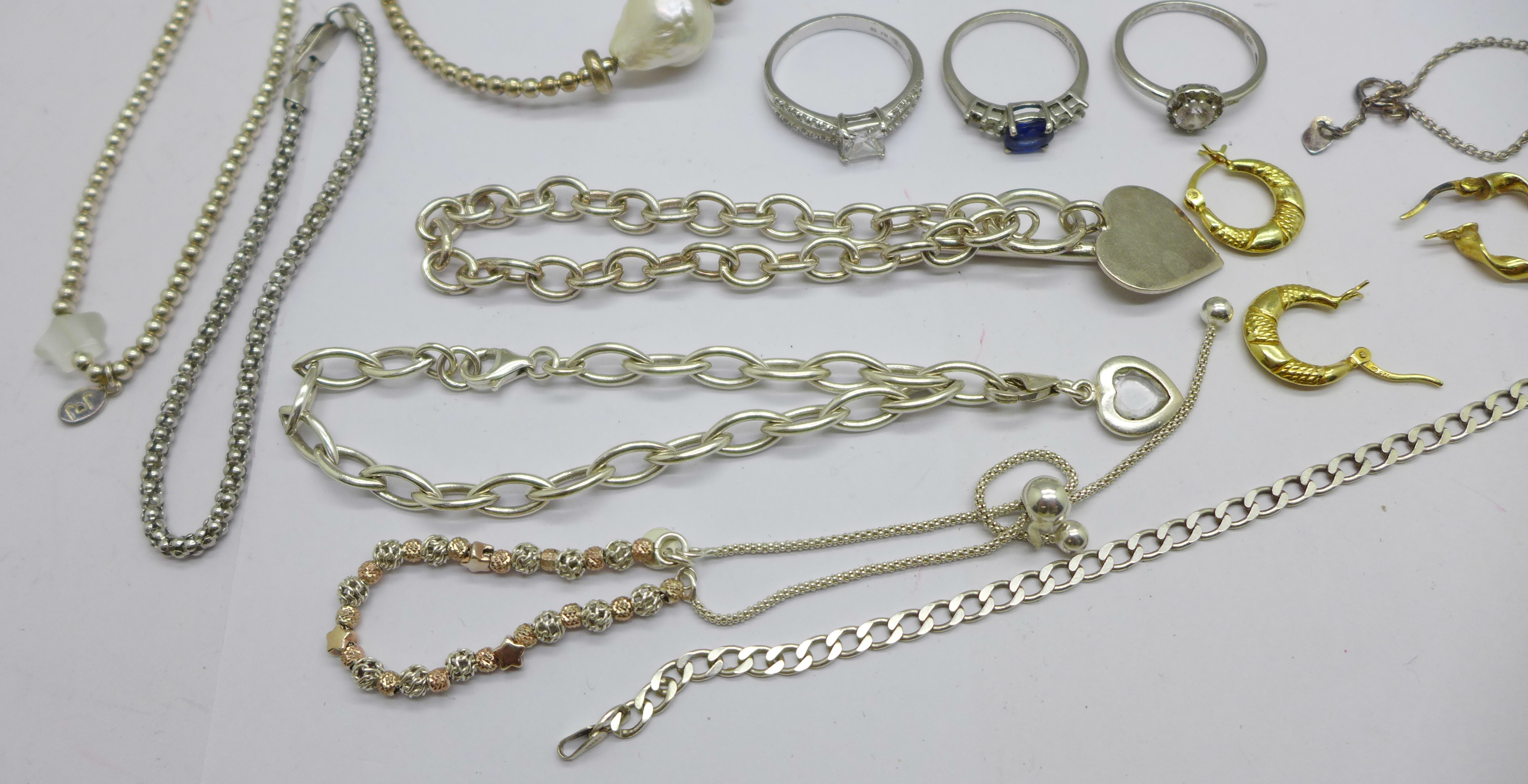 A collection of silver jewellery including bracelets, necklaces and earrings, etc., 80g - Image 2 of 3