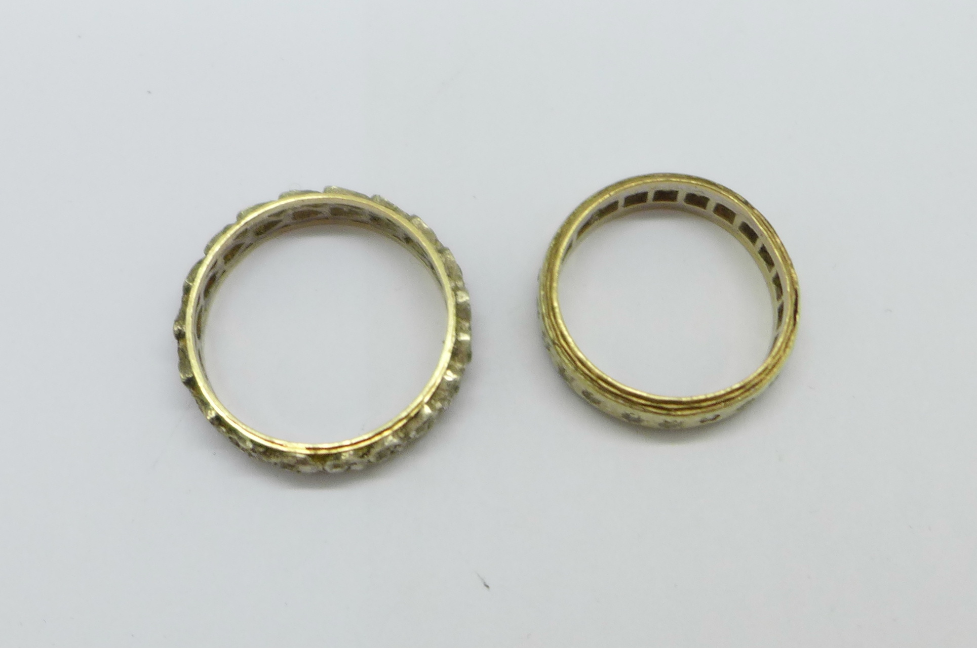Two 9ct gold and silver rings, L and R, 5.6g - Image 3 of 3