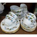Duchess bone china tea ware comprising six cups, saucers and plates, a milk jug, sugar bowl and