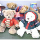 Five Harrods Christmas Teddy bears