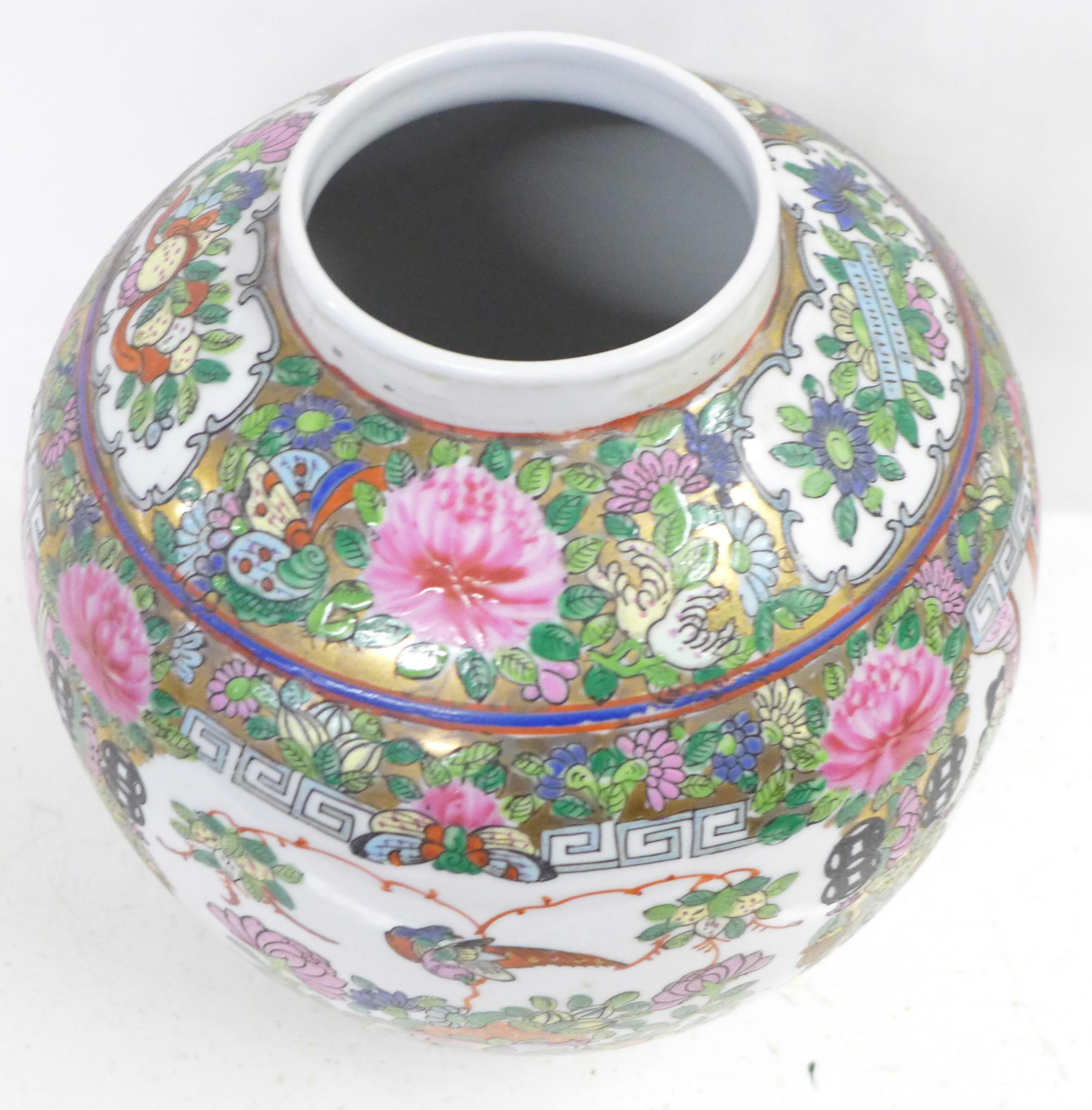 A famille verte ginger jar, lacking lid, 22.5cm - Image 5 of 6