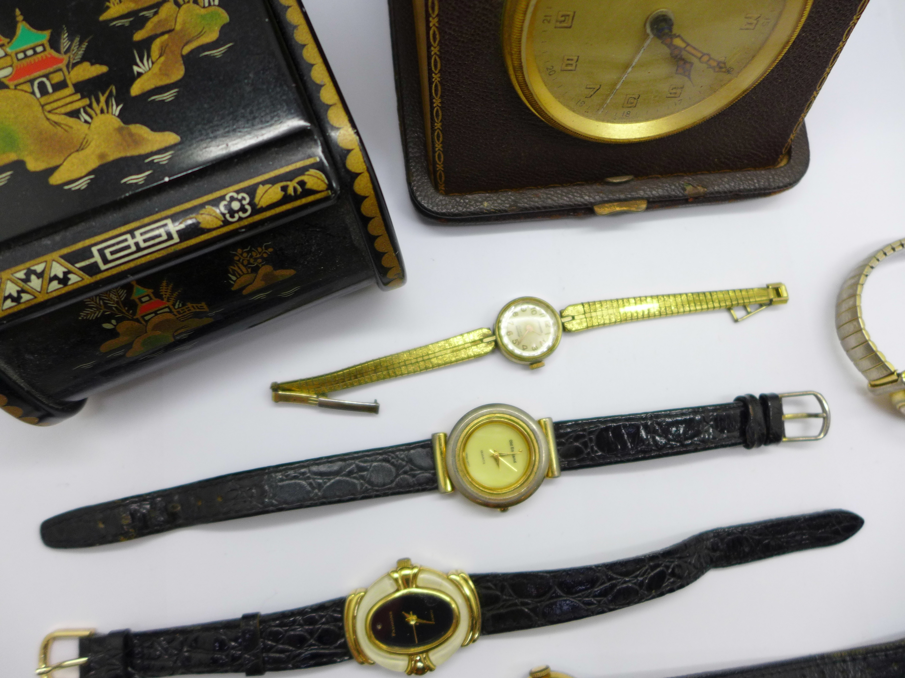 Five lady's wristwatches, a Kienzle travel clock and a trinket box - Image 3 of 9