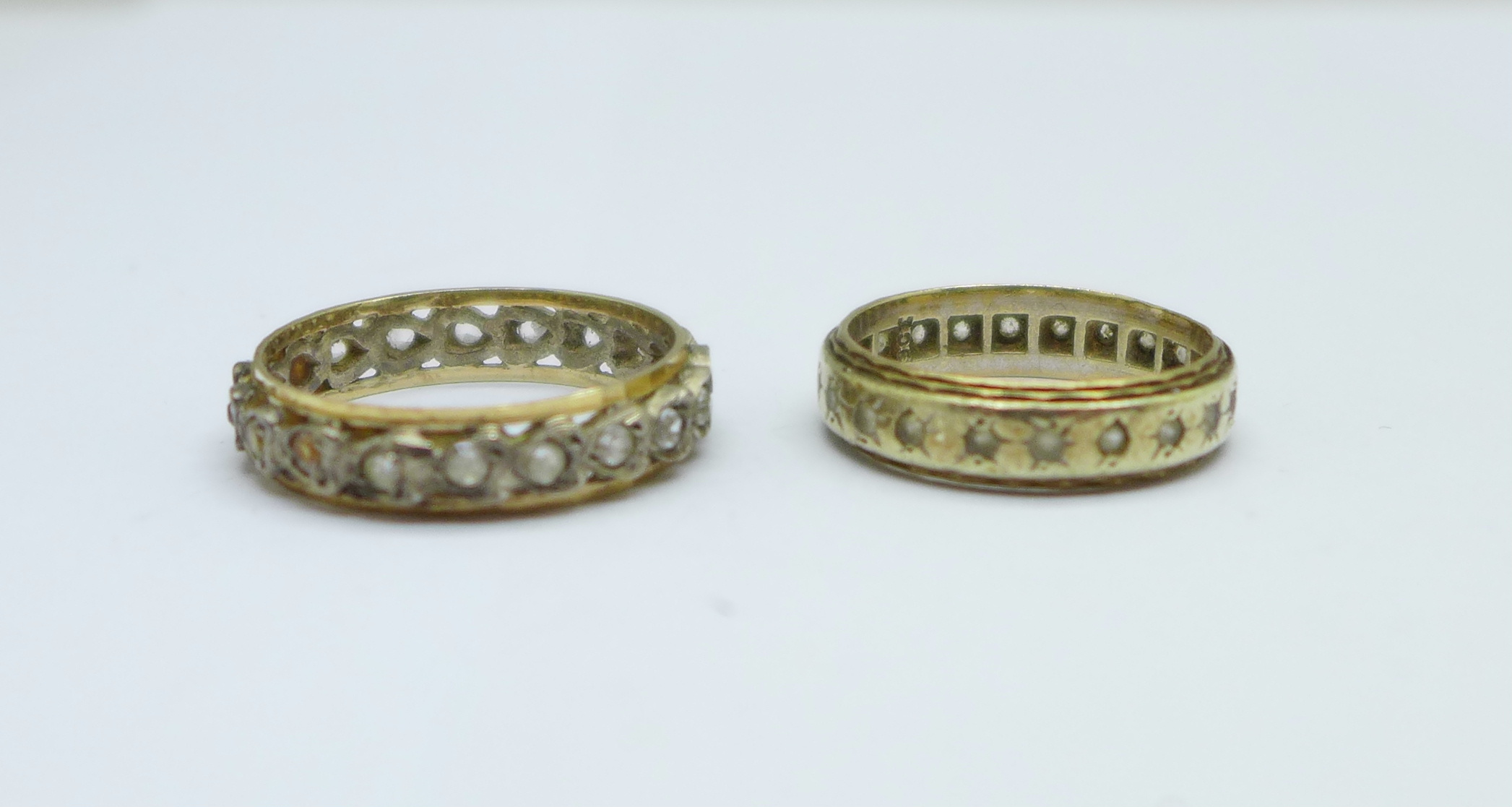 Two 9ct gold and silver rings, L and R, 5.6g - Image 2 of 3