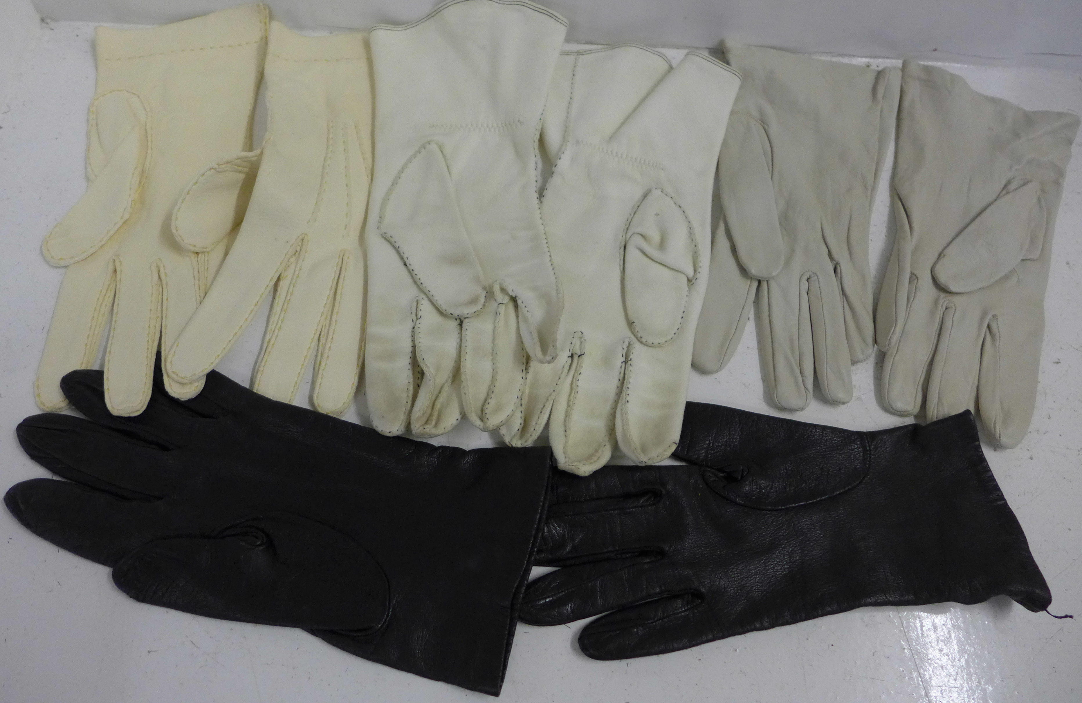 Four pairs of vintage leather gloves