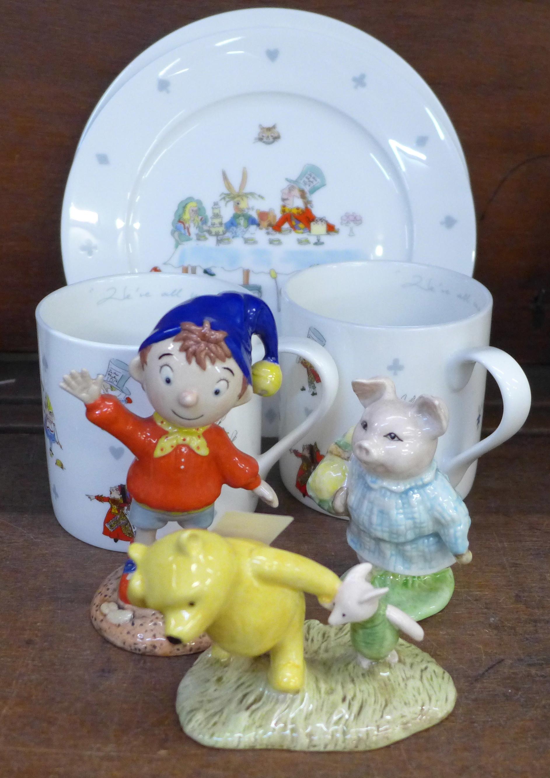 A Royal Worcester figure, Noddy, a Royal Doulton Winnie the Pooh figure, a Beswick Beatrix Potter