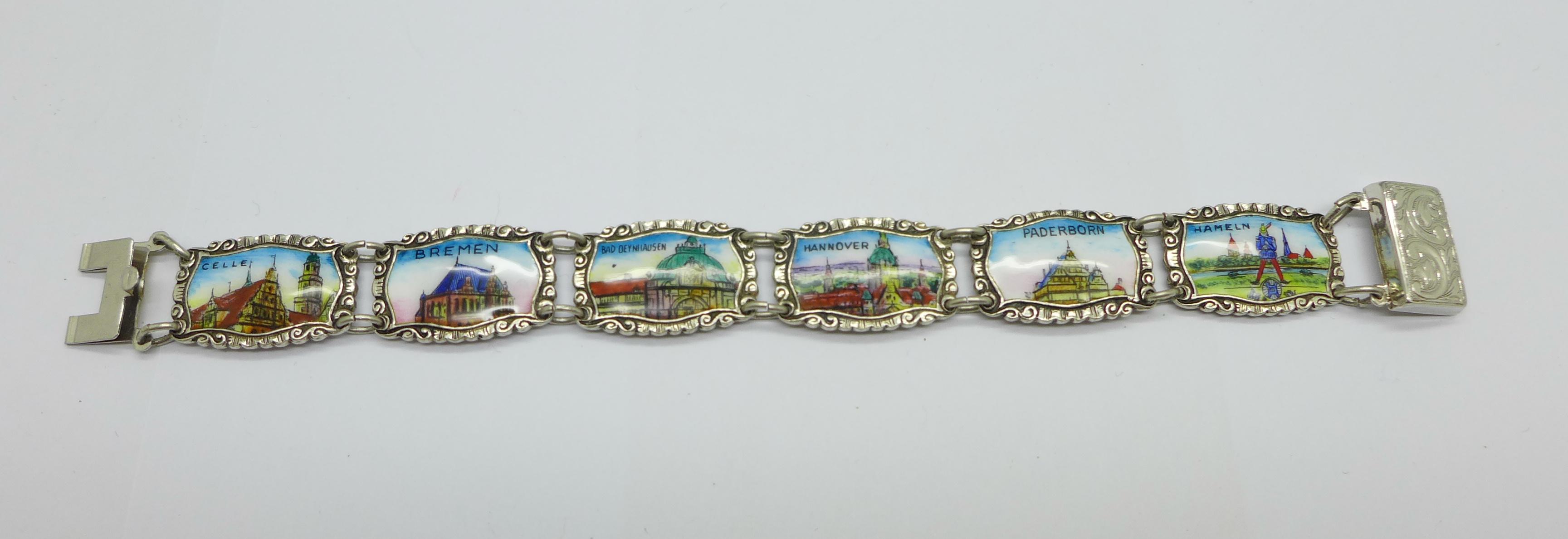 An enamelled silver bracelet marked 800 REU (manufacturer Fritz Reu & Co.), clasp marked Sterling,