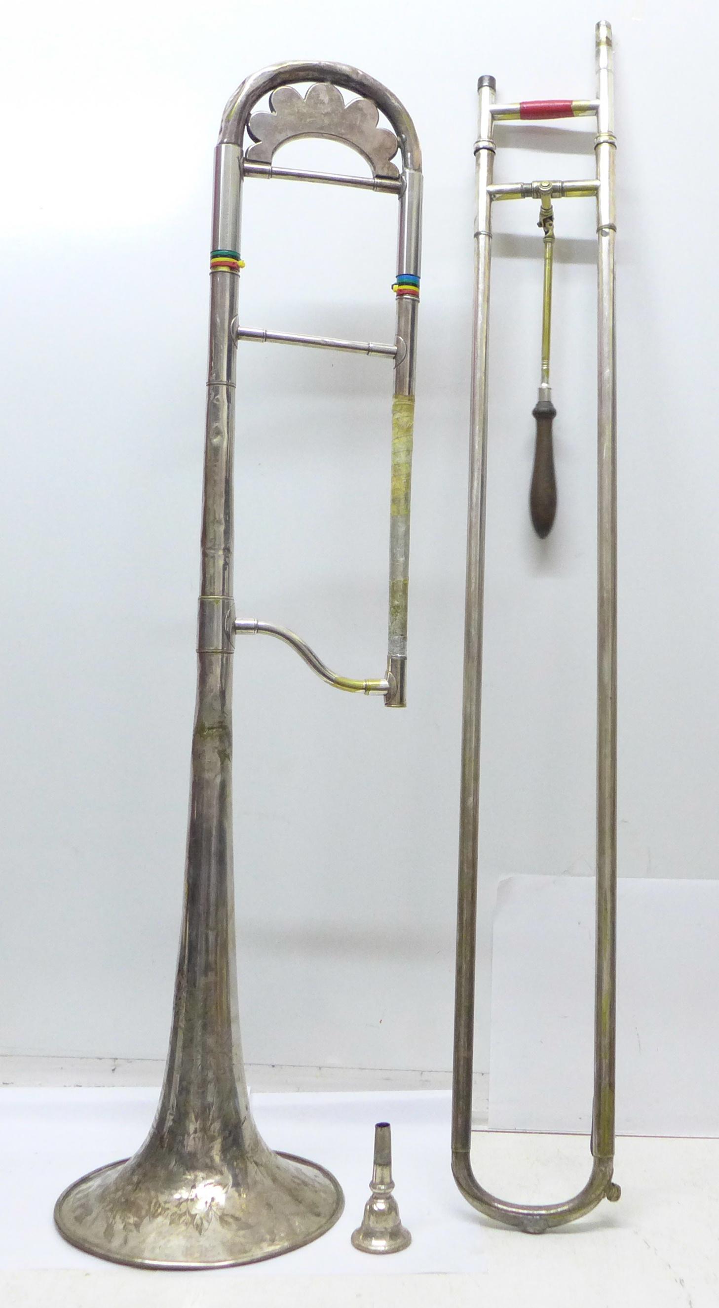 A cased Besson g-flat trombone