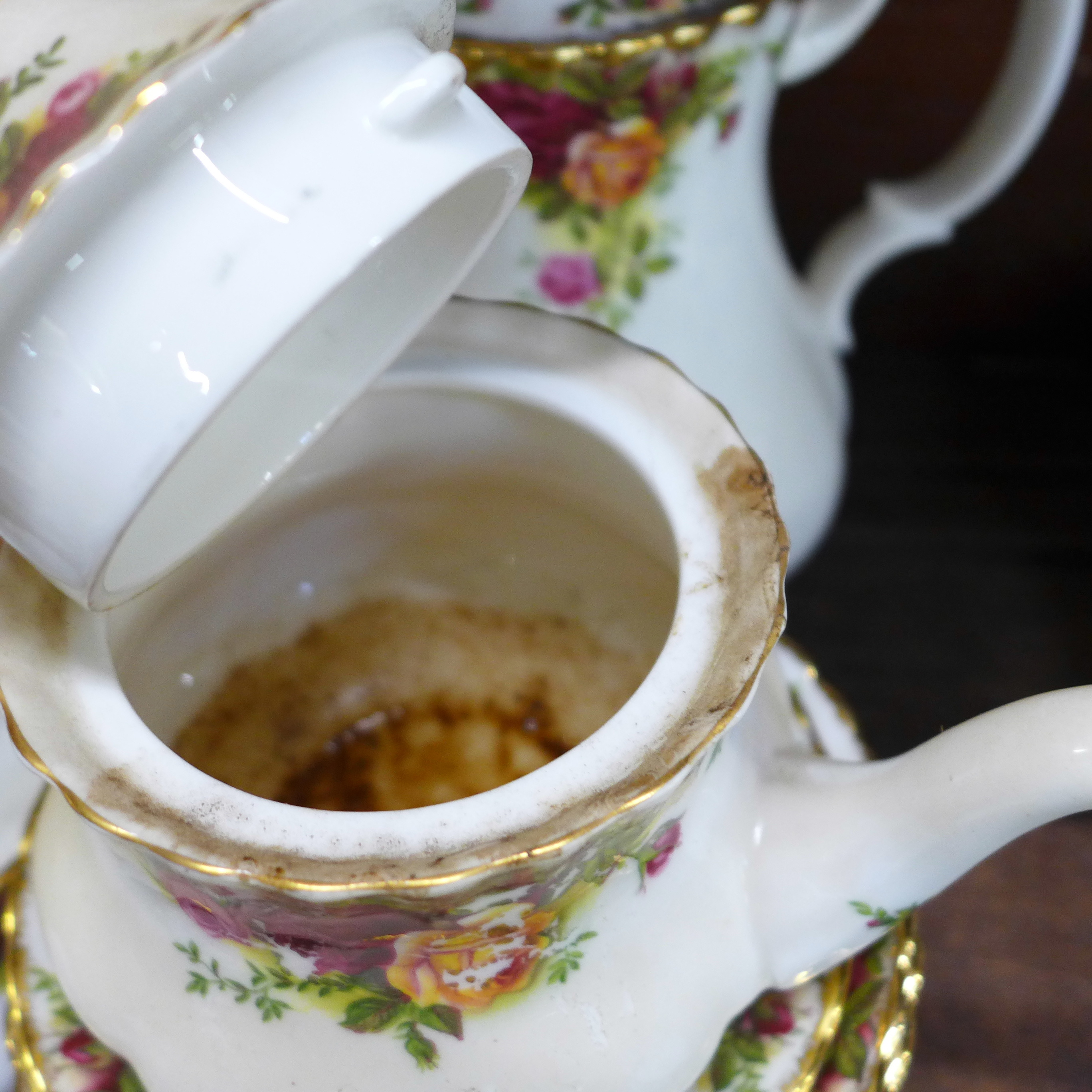 A collection Royal Albert Old Country Roses including six dinner plates, cups, coffee and teapot, - Image 6 of 7