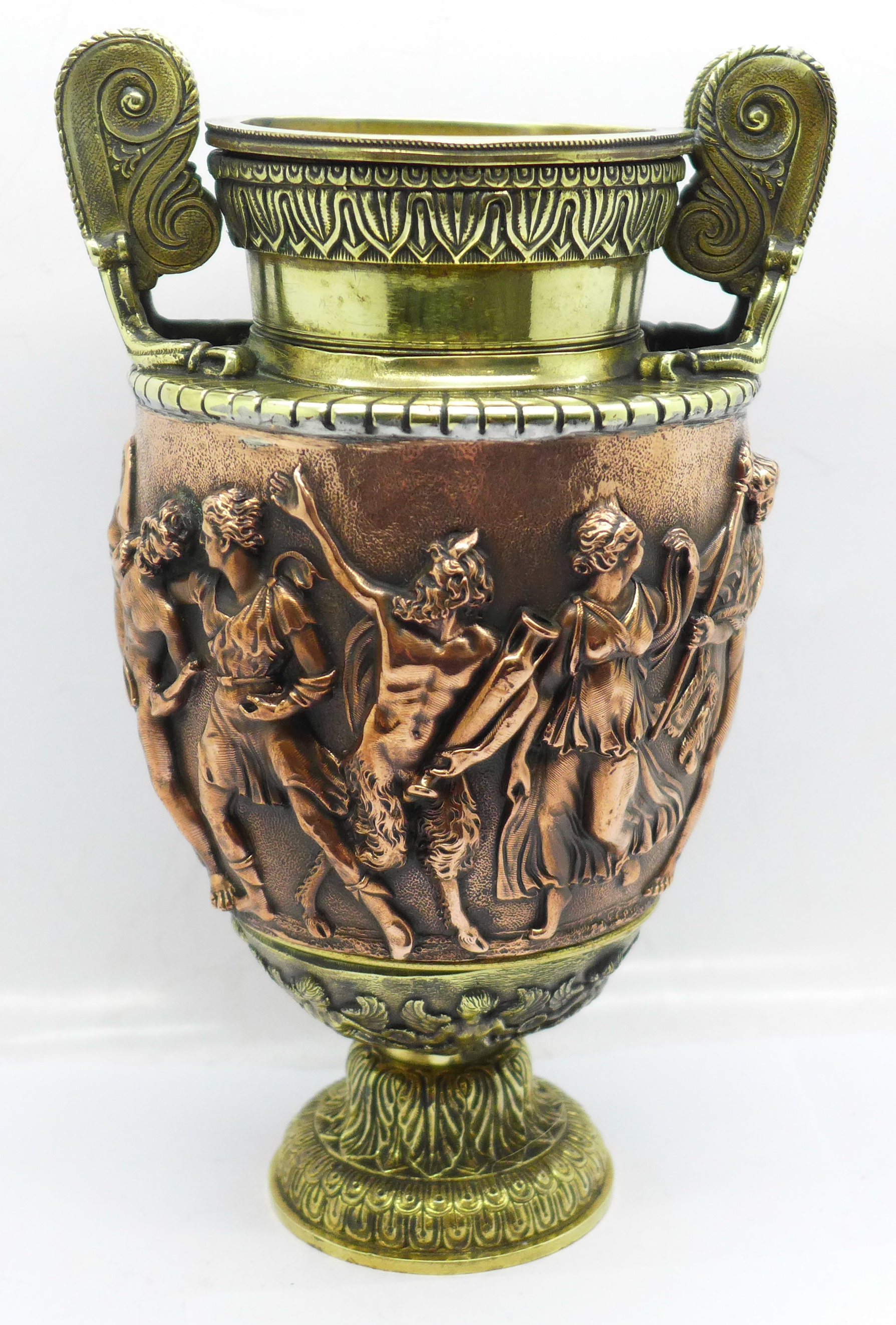 A bronze urn, Festival of Bacchus, 20cm