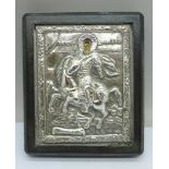 A silver mounted Russian icon, 10cm x 12cm