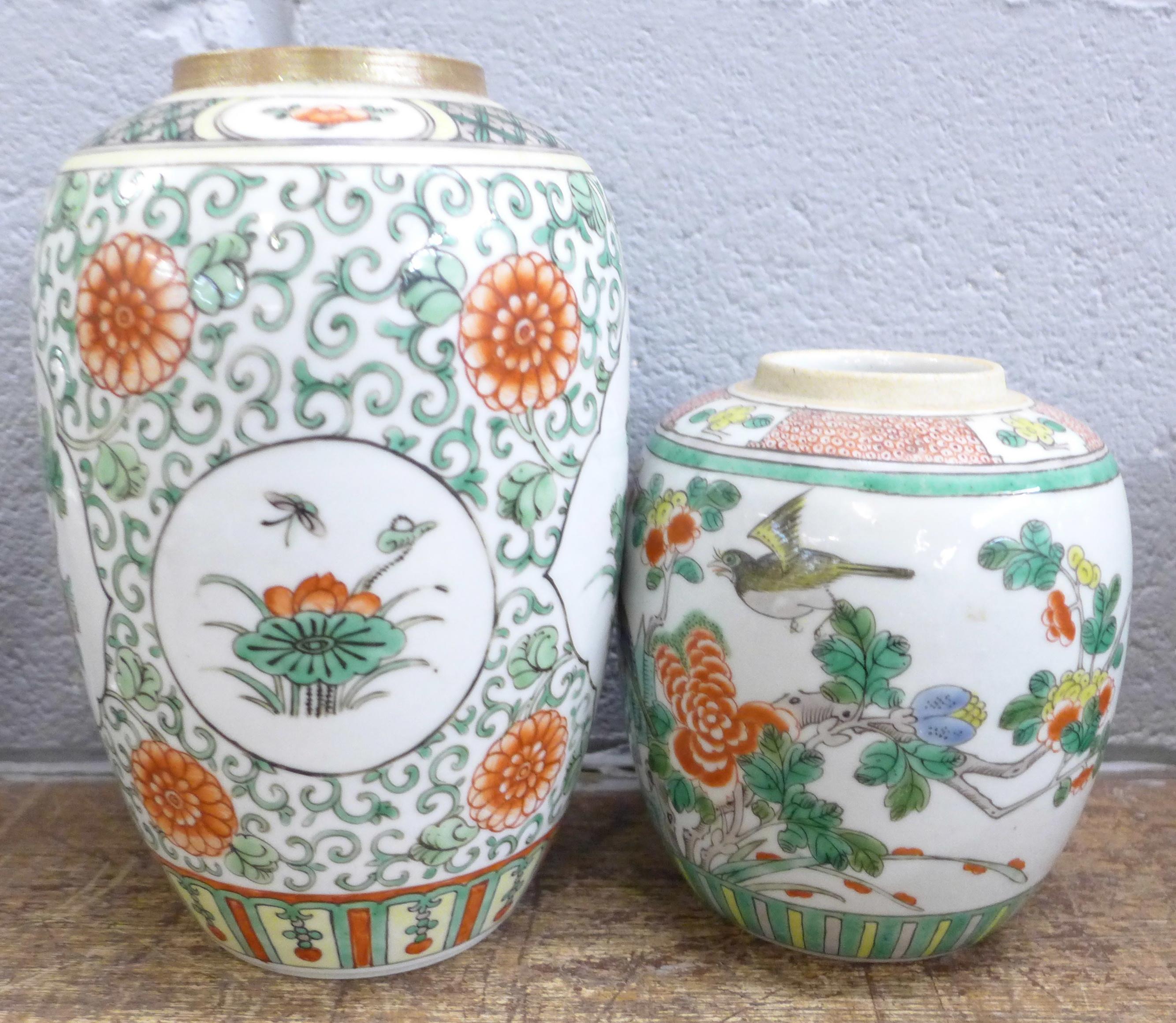 Two famille verte jars, both lacking lids - Image 2 of 5