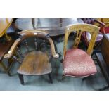 A Victorian elm smokers bow chair, a/f and a Victorian Grecian Revival oak chair