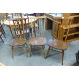 A set of three Ercol Golden Dawn elm and beech 608 model chairs