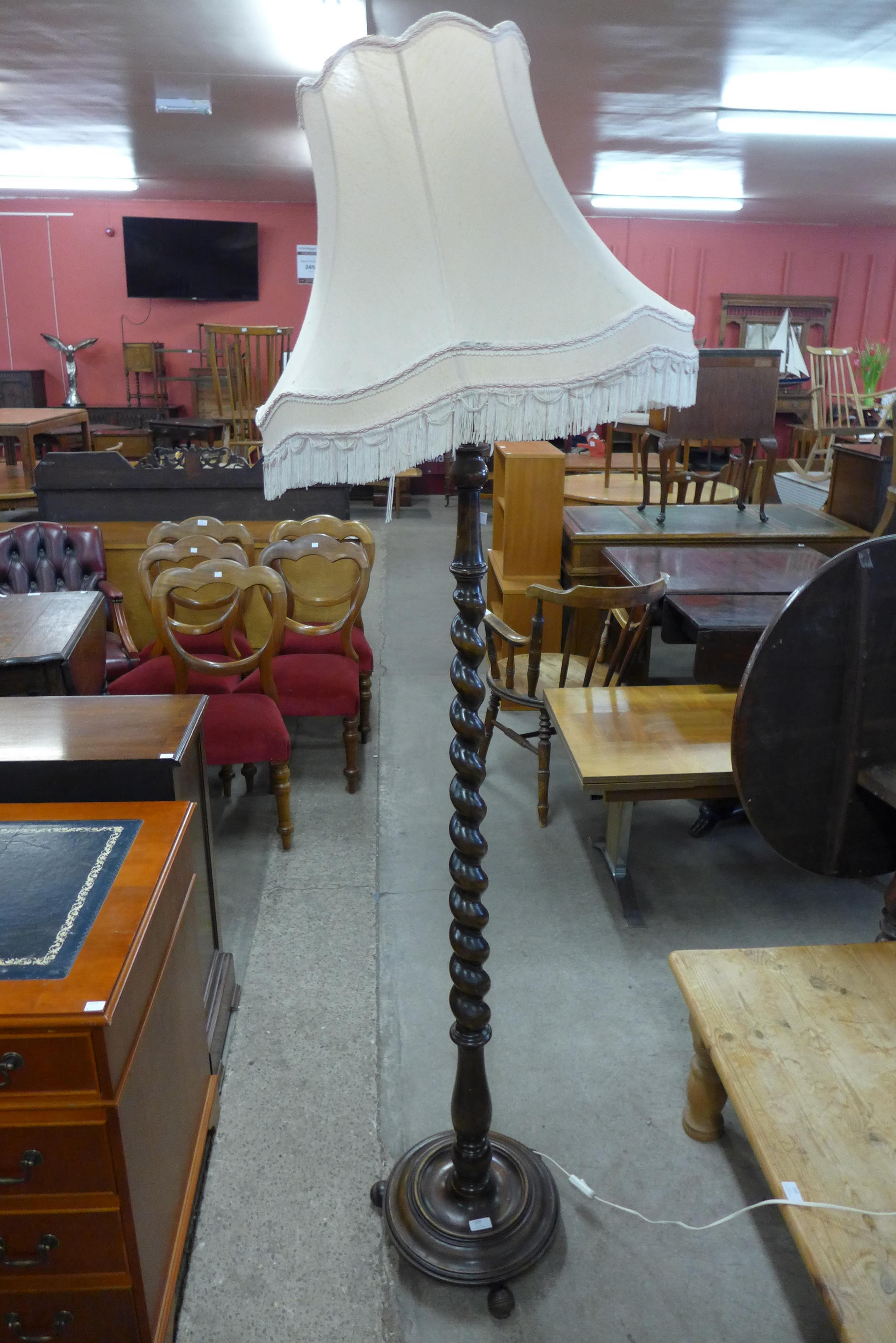 A beech barleytwist standard lamp