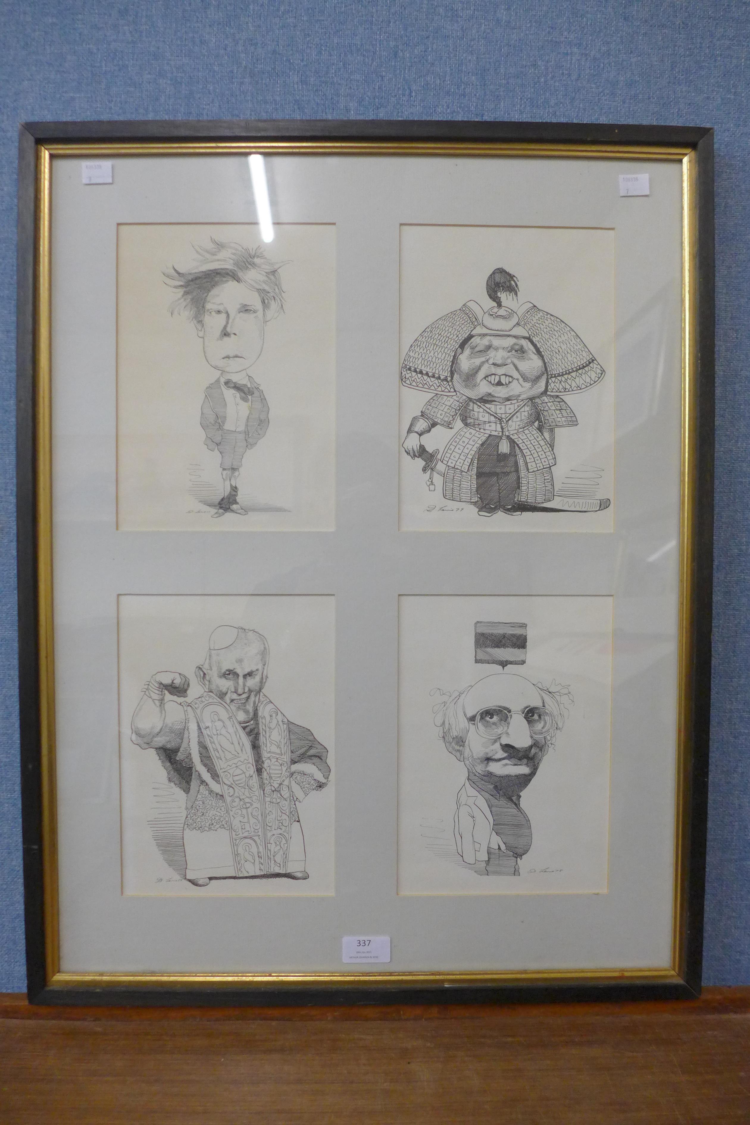 David Levine, set of four caricature prints, framed
