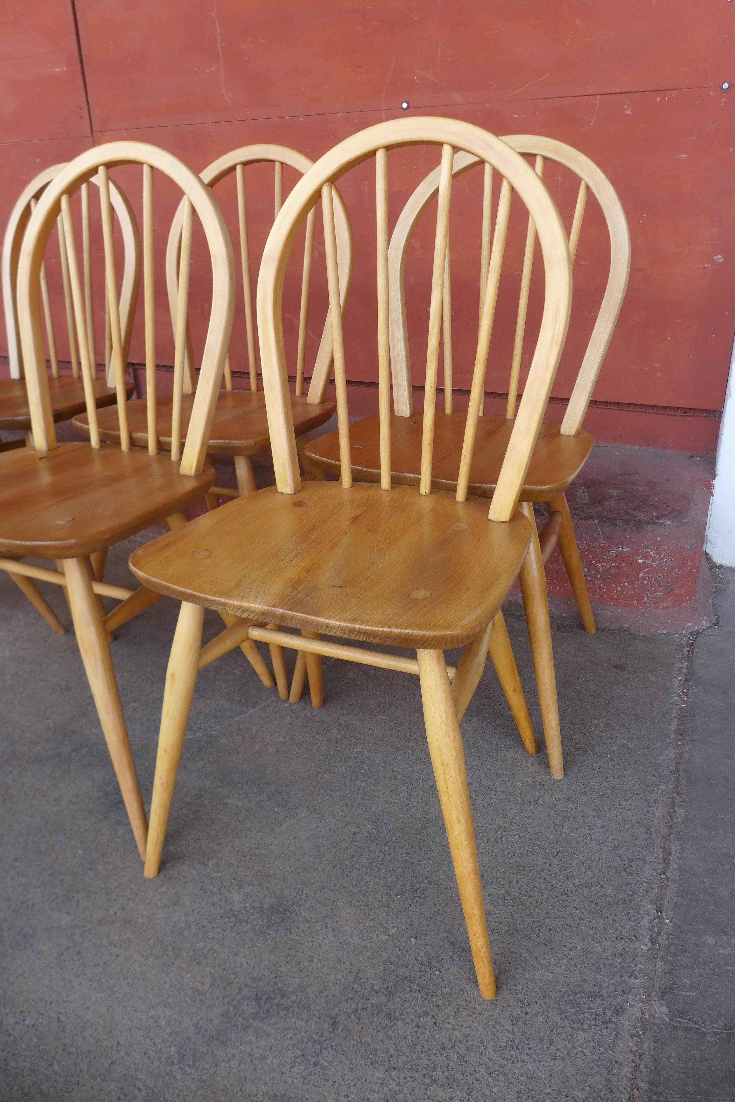 A set of eight Ercol Blonde elm and beech Windsor chairs - Image 2 of 2