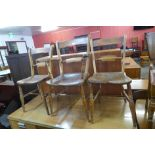 A set of three Victorian elm and beech farmhouse kitchen chairs