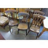 Five Victorian elm and beech kitchen chairs