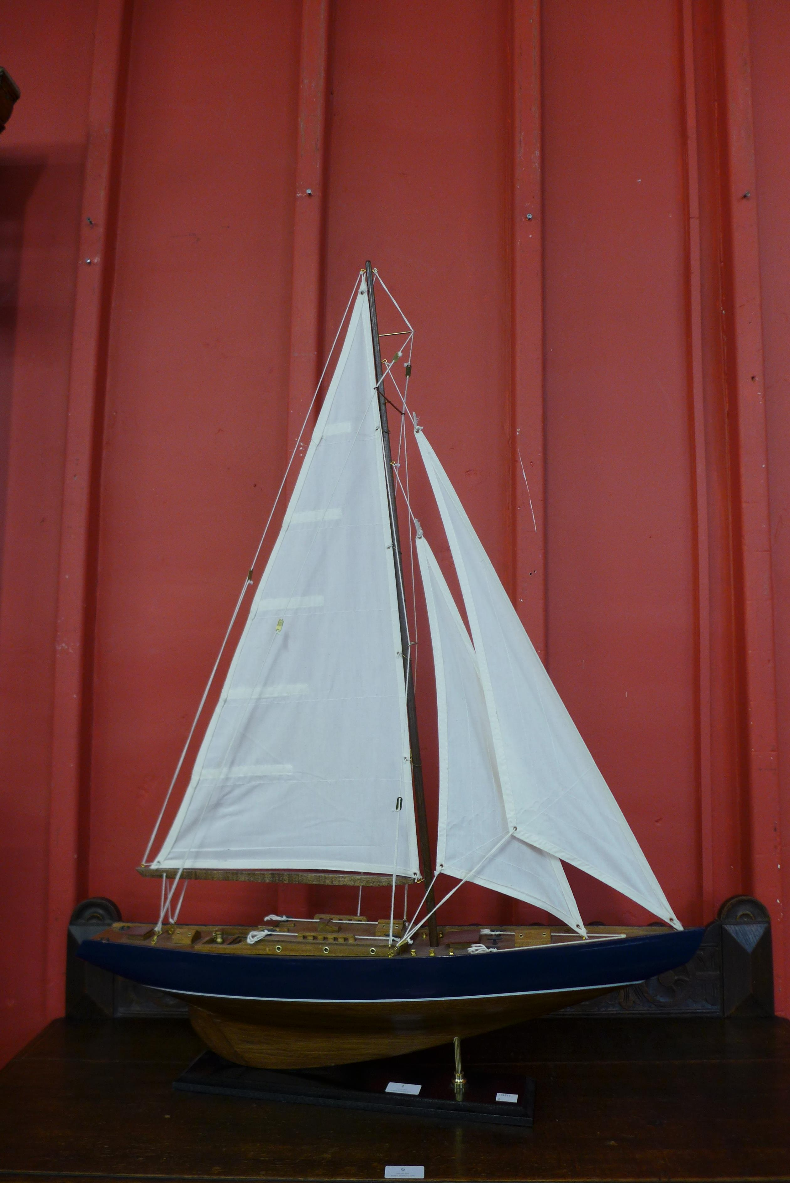 A scale model of a fully rigged yacht - Image 2 of 4