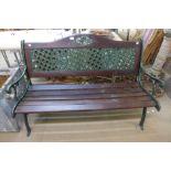 A cast iron ended garden bench