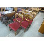 A set of five Victorian mahogany balloon back chairs
