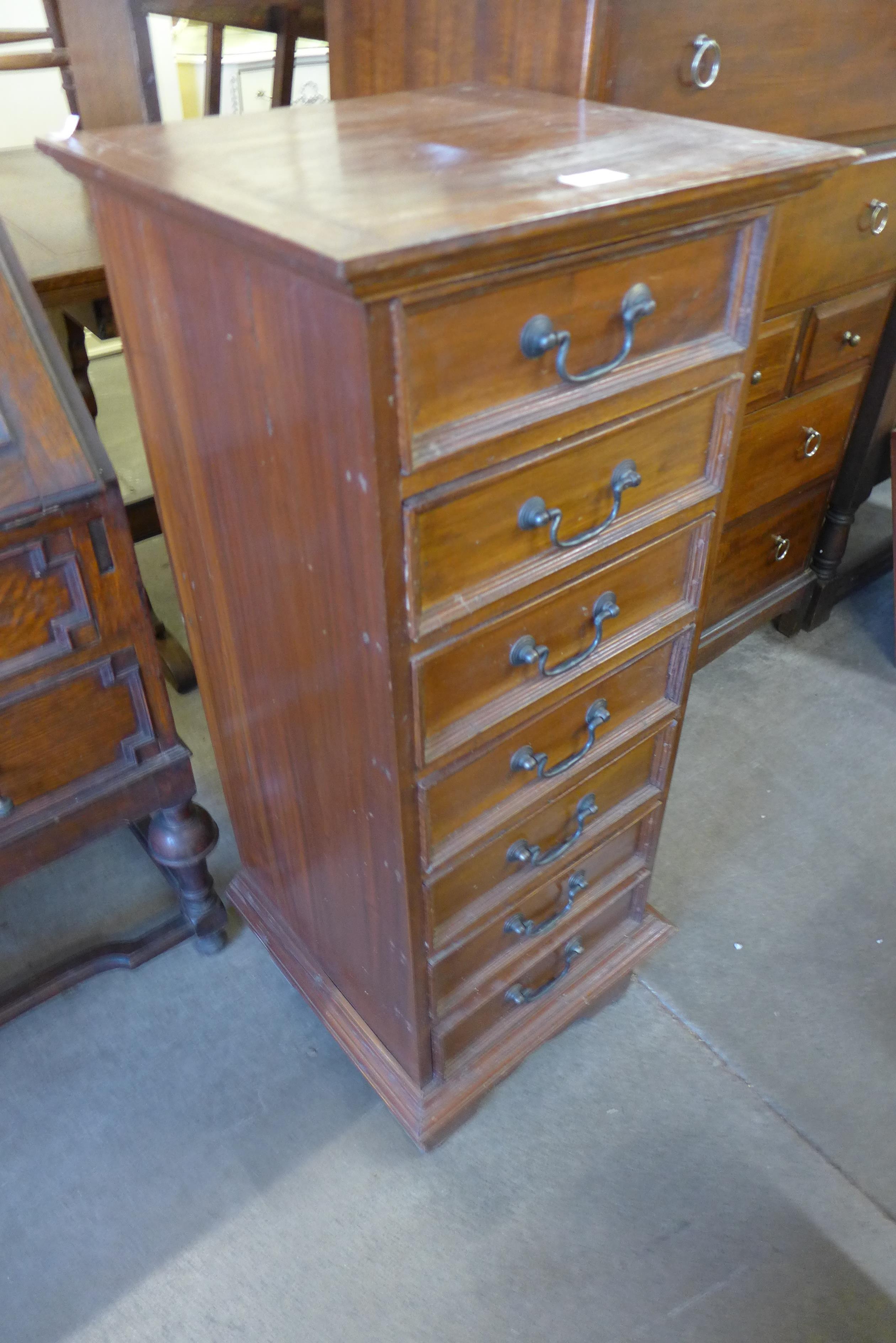 A Semainier mahogany chest of drawers