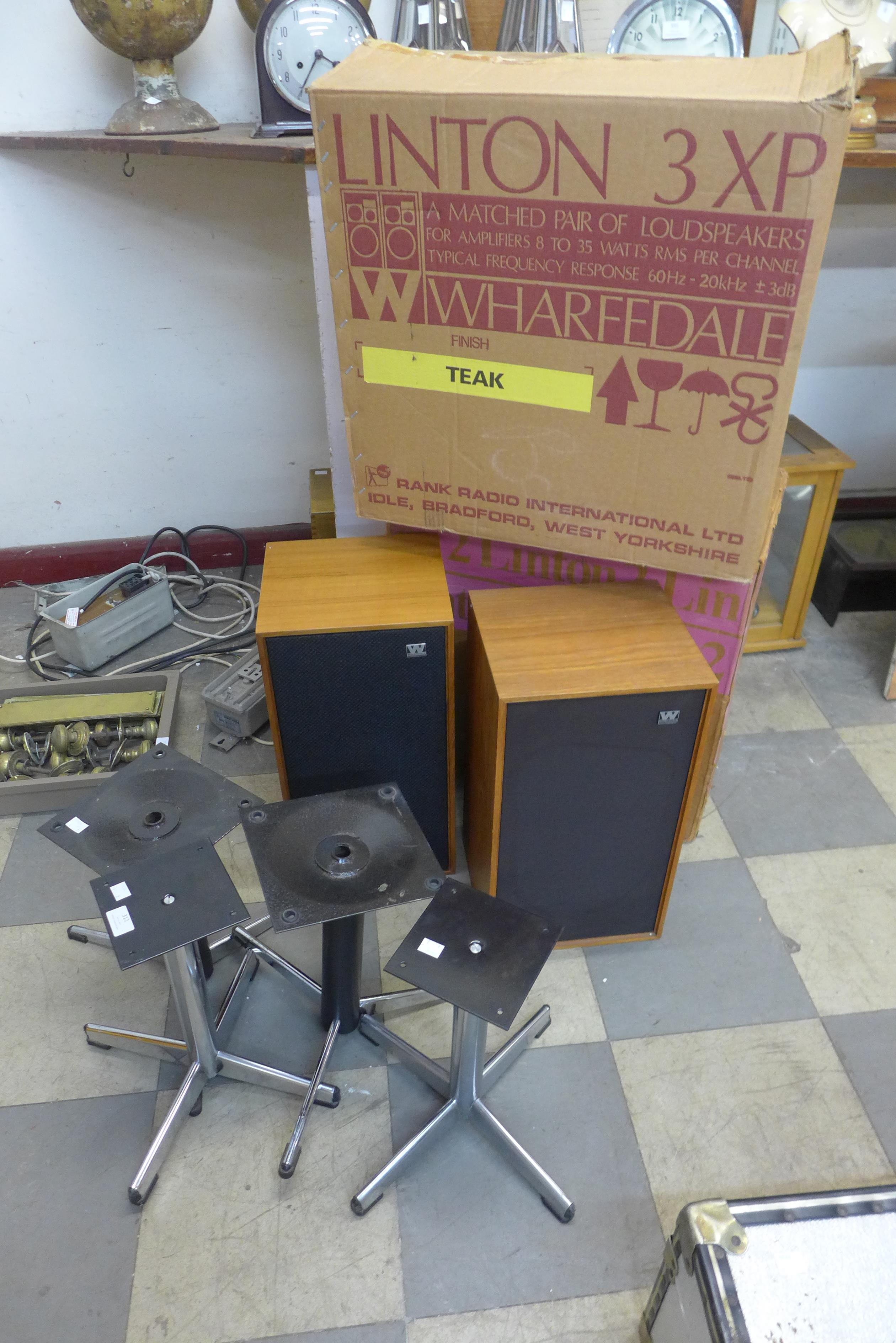 Two pairs of speakers and stands, ( including Wharfdale)