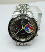 A Yema Yachtingraf 17 jewels chronograph wristwatch on a Seiko bracelet strap, chronograph buttons