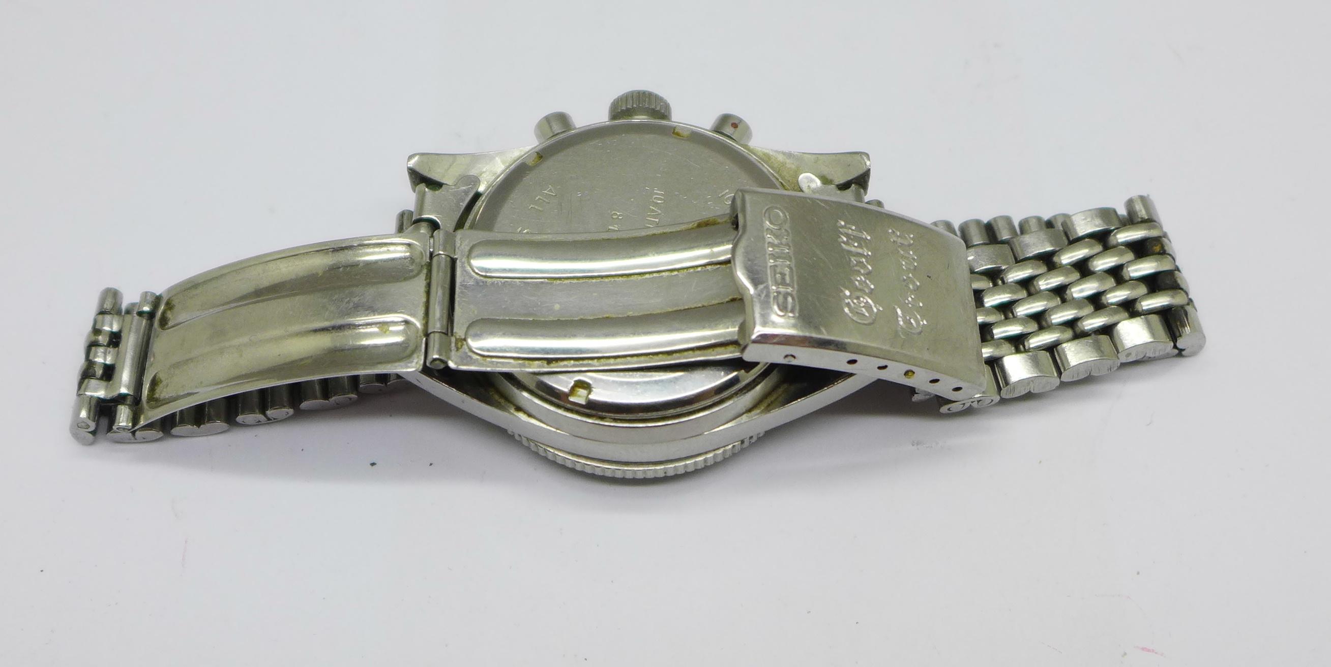A Yema Yachtingraf 17 jewels chronograph wristwatch on a Seiko bracelet strap, chronograph buttons - Image 5 of 8