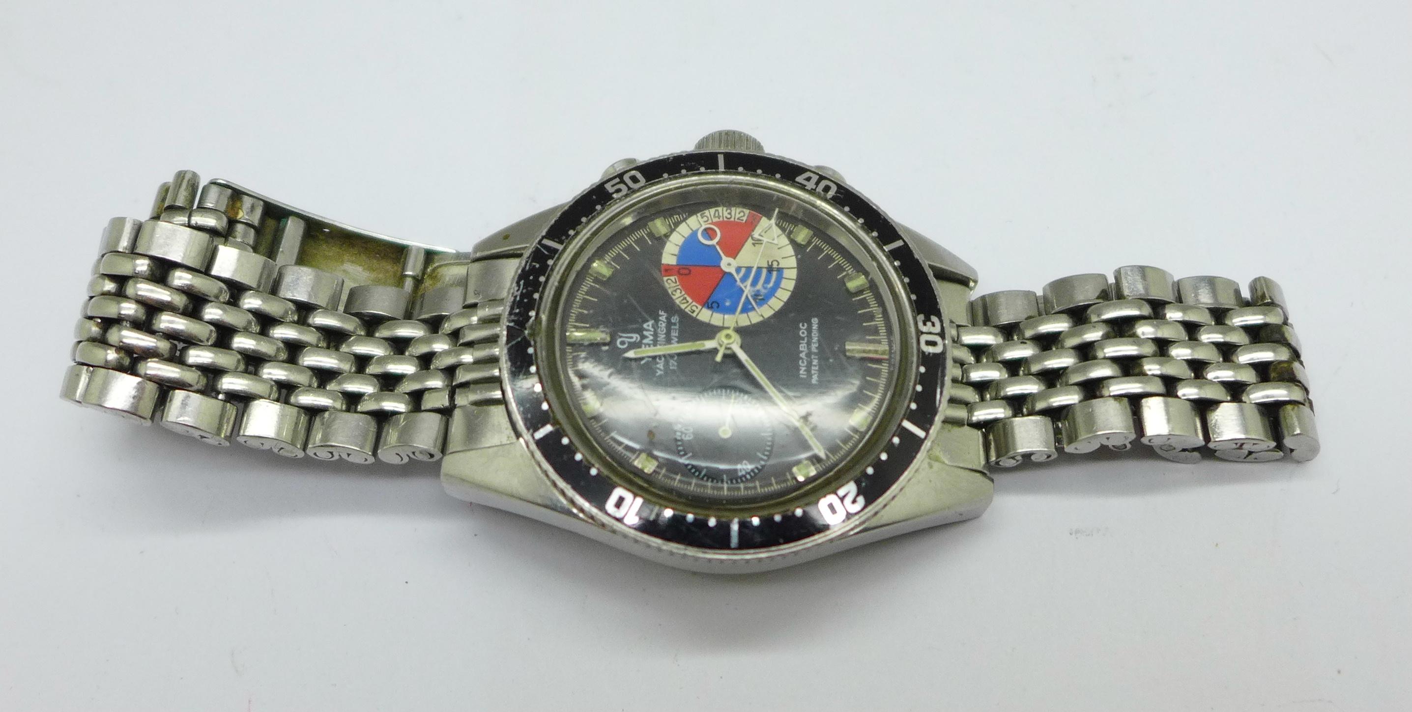 A Yema Yachtingraf 17 jewels chronograph wristwatch on a Seiko bracelet strap, chronograph buttons - Image 4 of 8
