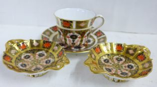 Two Royal Crown Derby 1128 pattern Imari dishes and a cup and saucer