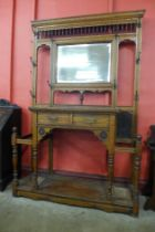 A large Victorian Aesthetic Movement carved oak hallstand