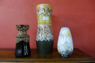Two West German porcelain vases and one other
