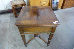 A late Victorian oak metamorphic surprise drinks cabinet, Patent No. 7254