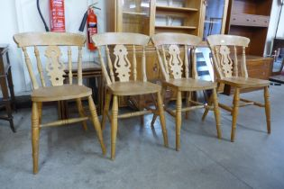 A set of four beech kitchen chairs