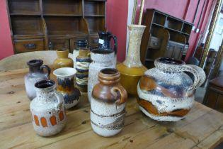 Eleven West German porcelain vases