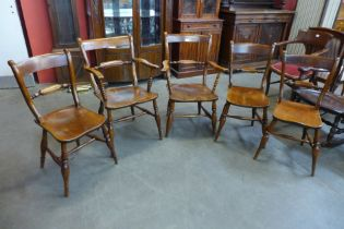 A set of five Victorian elm and beech farmhouse kitchen chairs