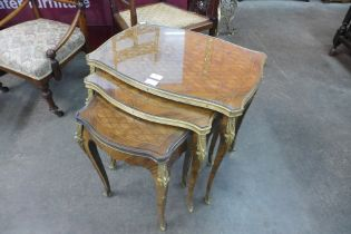 A French Louis XV style parquetry inlaid rosewood and ormolu mounted nest of tables