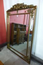 A large French style gilt framed mirror with crest, 191 x 135cms (M24238) #