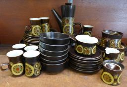 A Denby Arabesque dinner and coffee service including six side plates, six plates, seven mugs and