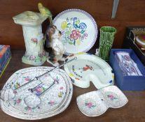A Wade budgie handled jug, Poole pottery plate, Moorlands pottery ashtray, a Mackintosh by