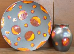 A Poole Pottery Metallic Galaxy vase and 42cm large charger