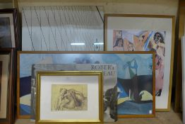 Two Pablo Picasso prints, an Edgar Degas print and a Fritz Henle print